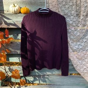 Vintage Plum Ribbed Turtle Neck